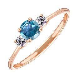 Золотое кольцо Романтика в красном цвете с голубым топазом и фианитами