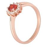 Позолоченное серебряное кольцо с красным фианитом Анкария