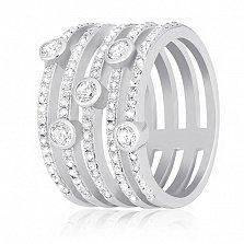 Серебряное кольцо Фонтэйн с цирконием