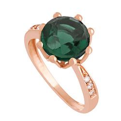 Золотое кольцо Колумбине с синтезированным аметистом и фианитами 000018471