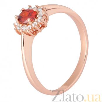 Позолоченное серебряное кольцо с красным фианитом Анкария 000028421