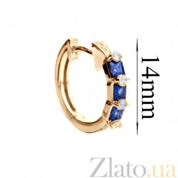 Серьги из красного золота с синими цирконами Альфа SG--70181130