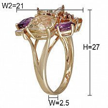 Золотое кольцо с аметистами, цитринами, турмалинами и бриллиантами Цветущий сад