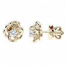 Золотые серьги с бриллиантами Цветок страсти