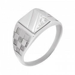 Серебряный перстень-печатка Мужественный стиль с фианитом и узорной шинкой  000088920