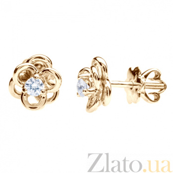 Золотые серьги с бриллиантами Цветок страсти E 0661/крас