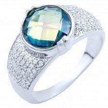 Серебряное кольцо Раджни с топазом мистик и фианитами