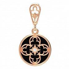 Золотой кулон Гербовый с ониксом и фианитом