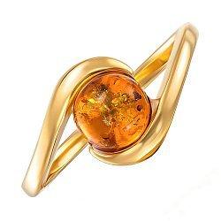 Серебряное позолоченное кольцо с янтарем 000137657