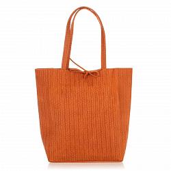 Кожаная сумка на каждый день Genuine Leather 8041 коньячного цвета на завязках