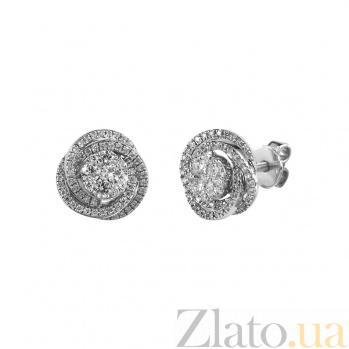 Серебряные серьги-пуссеты с бриллиантами Январская роза 000027278