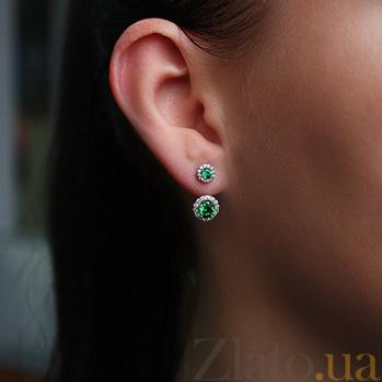 Серебряные серьги с зелёным цирконием Неженка 2432/9р з