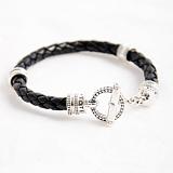 Кожаный браслет Toggle Round с черненой серебряной застежкой