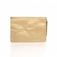 Кожаный клатч Genuine Leather 8052 золотистого цвета с механическим замком и короткой ручкой