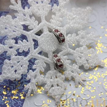 Серебряные серьги с бриллиантами и рубинами Изабель ZMX--EDR-6123-Ag_K