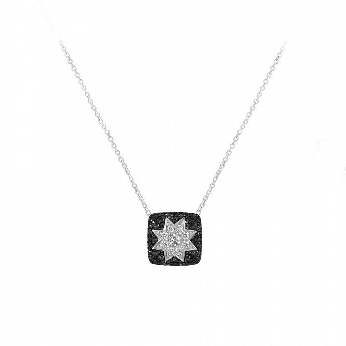 Колье из белого золота Звезда эльфов с черными и белыми бриллиантами 000082010