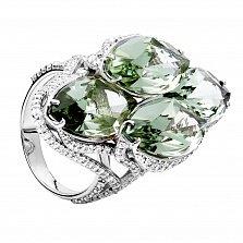 Серебряное кольцо с зеленым кварцем Наоми
