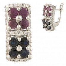 Серебряные серьги Теодора с сапфирами, рубинами и фианитами