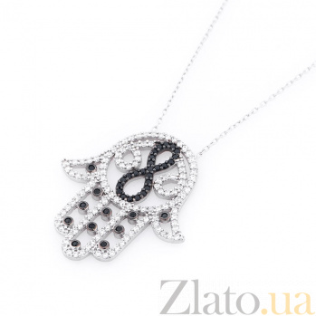 Серебряное колье Ладошка Фатимы с черными и белыми фианитами 000063044