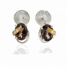 Серебряные серьги с раухтопазами Джейн