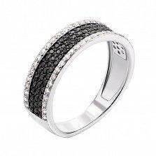 Золотое кольцо Эльмина в белом цвете с черными и белыми фианитами