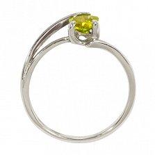 Кольцо из белого золота Мэган с хризолитом