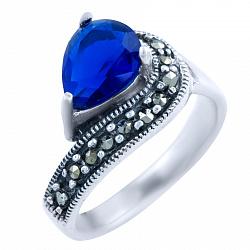 Серебряное кольцо Сигурни с сапфиром и марказитом