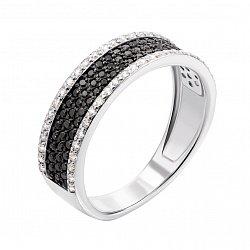 Золотое кольцо в белом цвете с черными и белыми фианитами 000068251
