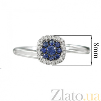 Золотое кольцо с бриллиантами и сапфирами Остров 000026837