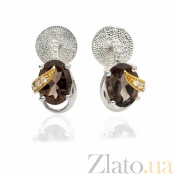 Серебряные серьги с раухтопазами Джейн 000030670
