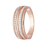 Серебряное кольцо с позолотой и фианитами Паула
