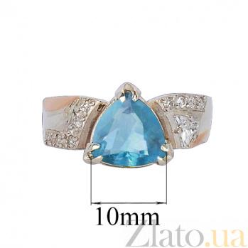 Серебряное кольцо Мирта с золотой вставкой и голубым цирконием Идилия к