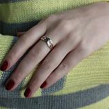 Золотое кольцо Нежные волны в комбинированном цвете металла