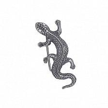 Серебряная черненая брошь Ящерица с глазками-фианитами