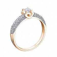 Кольцо в красном золоте Красота спасет мир с бриллиантами