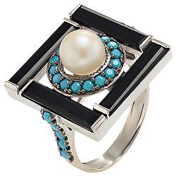 Серебряное кольцо Ночное рандеву Беатрис с белым жемчугом, черным агатом и бирюзой