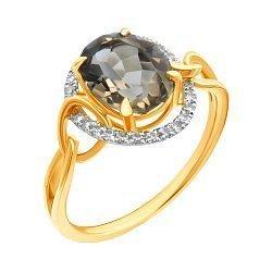 Золотое кольцо в комбинированном цвете с раухтопазом и бриллиантами 000139528