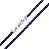Шелковый шнурок синего цвета c серебряной застежкой Милан, 3мм