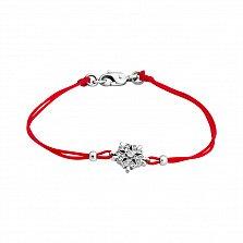 Шелковый браслет Снежинка с серебряными вставками и цирконием