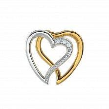 Золотая подвеска с бриллиантами Любовь