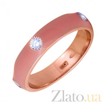 Золотое кольцо Пастель с фианитами и эмалью цвета коралл К221кр/кор