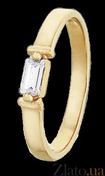 Серебряное кольцо Альда с фианитом и позолотой 000025660