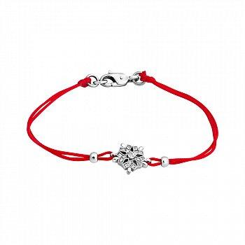 Шелковый браслет с серебряными вставками и цирконием 000022384