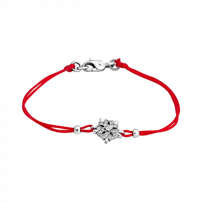 Шелковый браслет Снежинка с серебряными вставками и цирконием ZMX--BCCz-00205-Ag_K