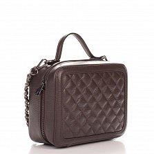 Кожаная деловая сумка Genuine Leather 8891 коричневого цвета с перекресной строчкой и съемным ремнем