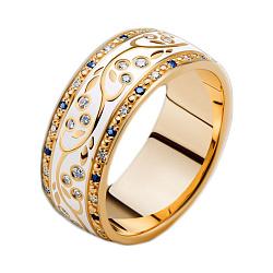 Золотое обручальное кольцо Рожденные для счастья с эмалью, сапфирами и бриллиантами (женское)