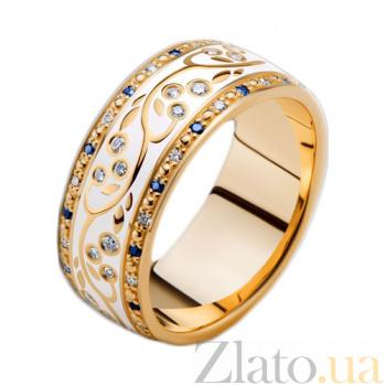 Золотое обручальное кольцо Рожденные для счастья с эмалью, сапфирами и бриллиантами (женское) PRT--WR0077