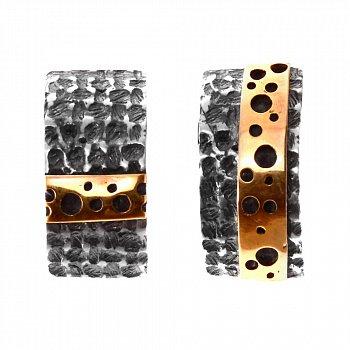 Cеребряные серьги Maasdam с золотыми вставками и чернением 000091398