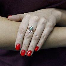 Кольцо в красном золоте Лейла с нанохризопразом и фианитами