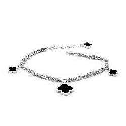 Серебряный браслет Матиана с черной эмалью и родием в стиле Ван Клиф